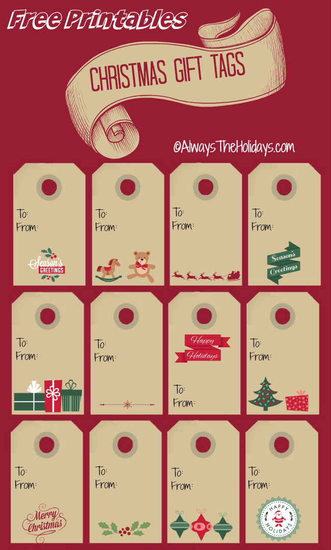 Printable Christmas labels for the burlap wine bottle bag.