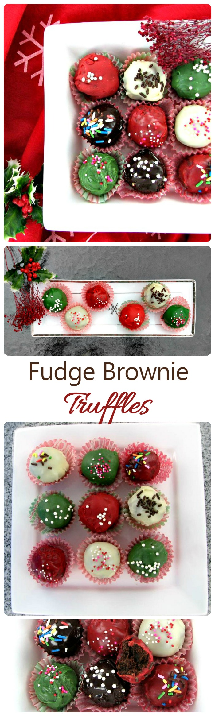 These fudge brownie truffles are such a decadent holiday treat. They are super easy to make and so festive on your party table.