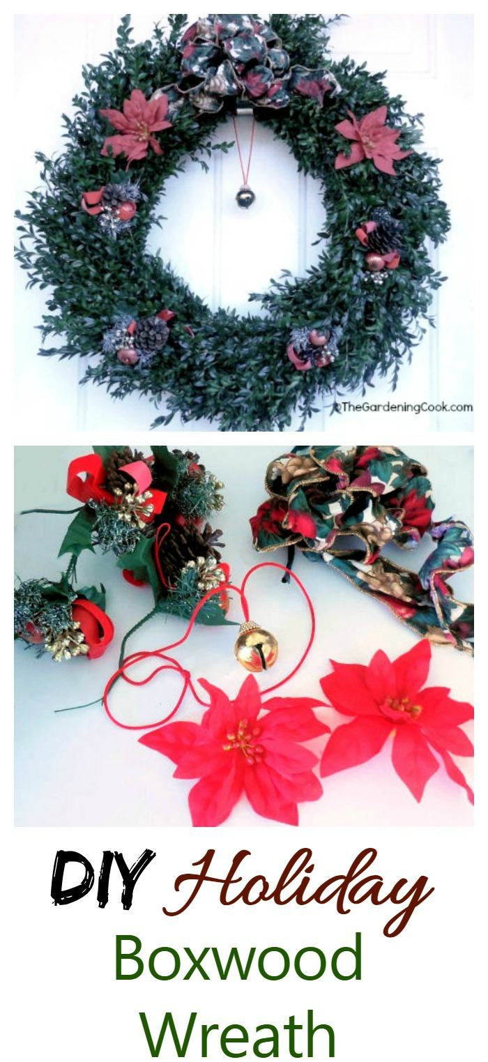 This holiday boxwood Christmas wreath makes a nice change from the traditional fir wreaths.