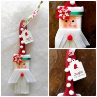 This Santa Paintbrush Ornament is whimsical and fun to make and will look cute on a Christmas tree or as a wall hanging.