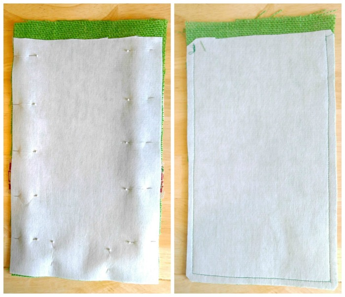 Fuse and pin the front piece of fabric