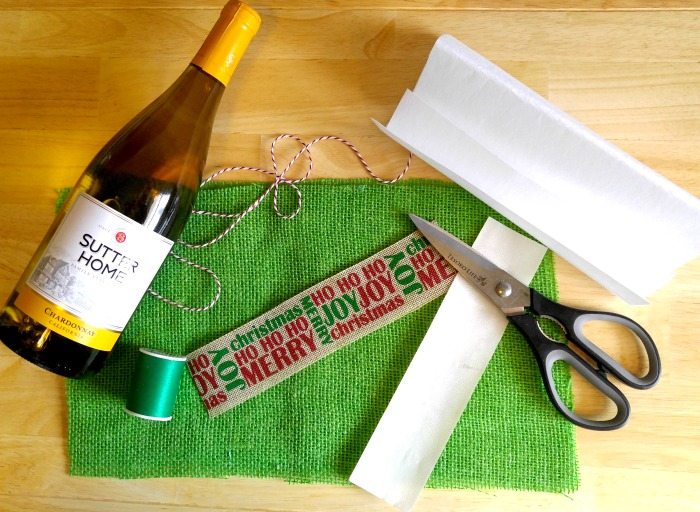 Supplies for the burlap wine bottle bag