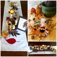This Thanksgiving Centerpiece makes use of reclaimed wood and inexpensive craft supplies and looks lovely on a long dining room table. It is very easy to make, in just a few hours.