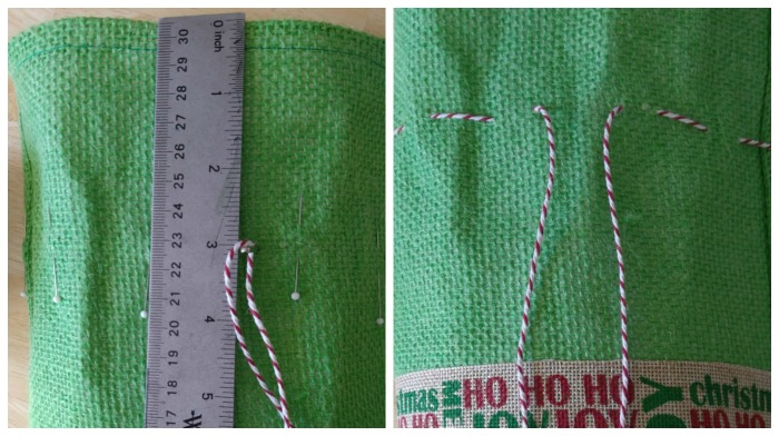 measure and stitch the drawstring cloising