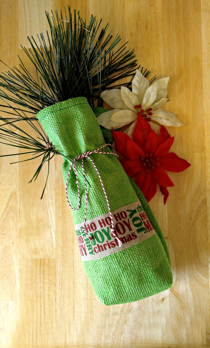 Diy burlap wine bottle bag