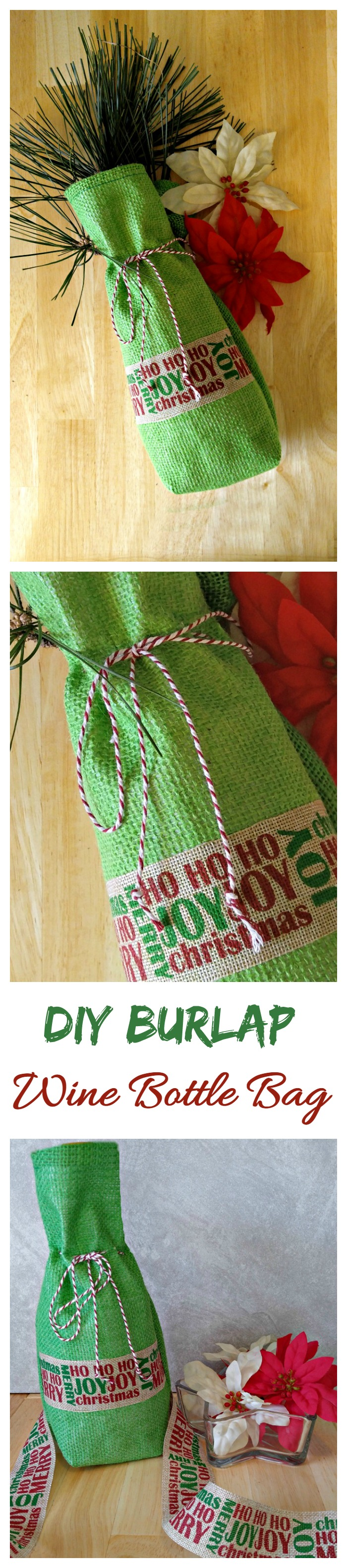 Msg 4 21+ This DIY burlap wine bottle bag is the prefect way to wrap your favorite bottle of Sutter home family wine. #SutterHomeForTheHolidays #ad