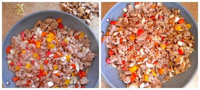 Add your chopped vegetables to the ground turkey