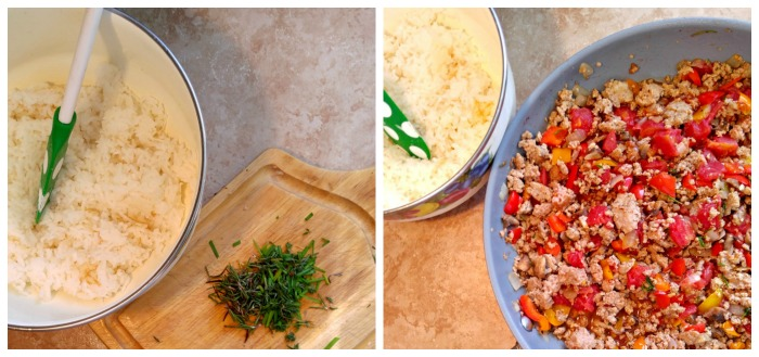Chops the fresh herbs and add them to the ground turkey mixture. The rice will go in at the very end.