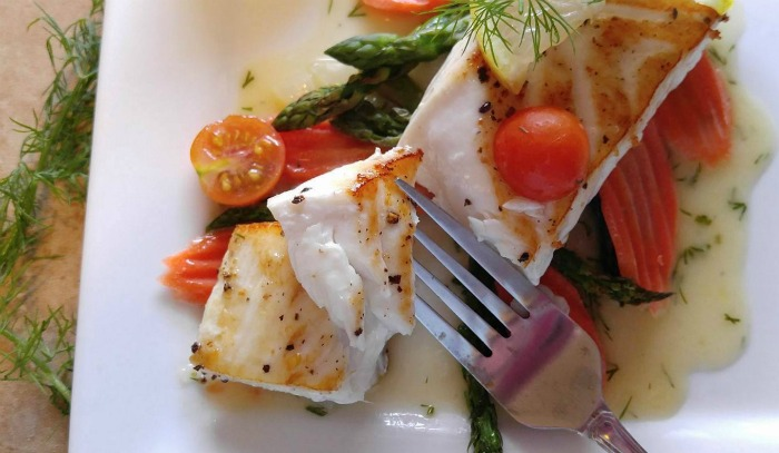 Take a bite of this Pan seared halibut