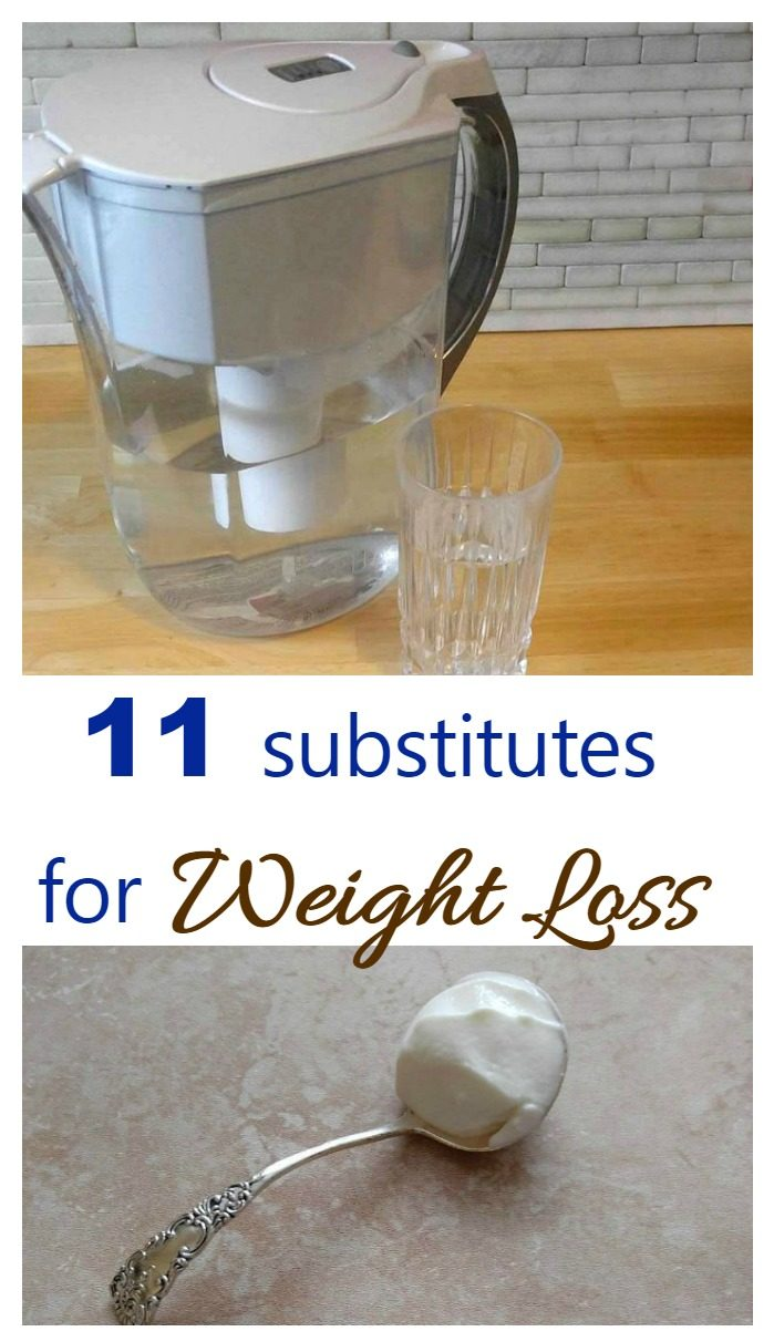 spoon of yogurt and Brita water pitcher with words reading 11 Substitutes for Weight Loss.
