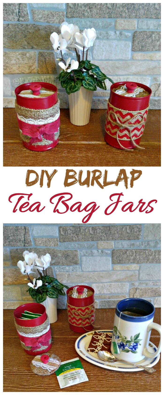 These DIY Burlap Tea Bag Jars are a lovely way to hold your tea bags. The project is very easy to make and looks great in a country farm setting. #TeaProudly #ad