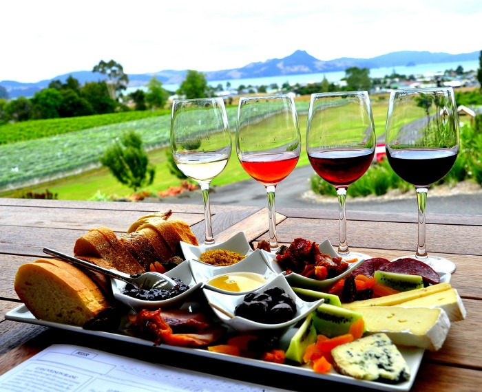 Antipasto platter and wine in an outdoor setting is a delight.