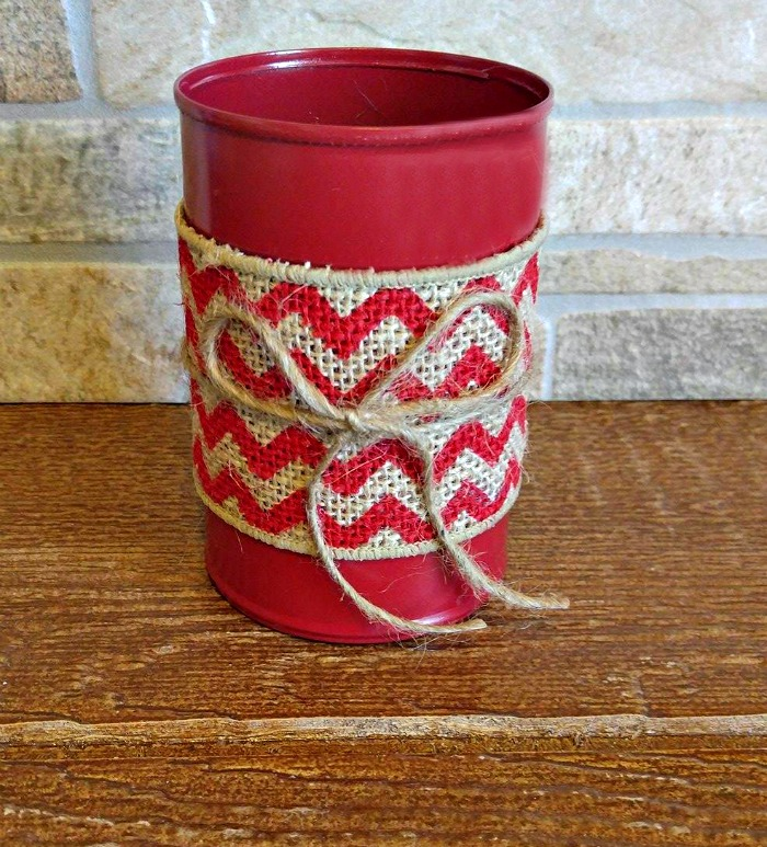 Chevron burlap tea bag jar