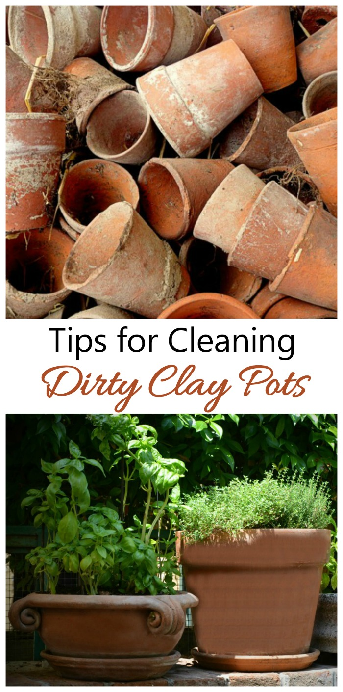 These tips for cleaning clay pots will get your planters ready for use next spring. #cleaningclaypots