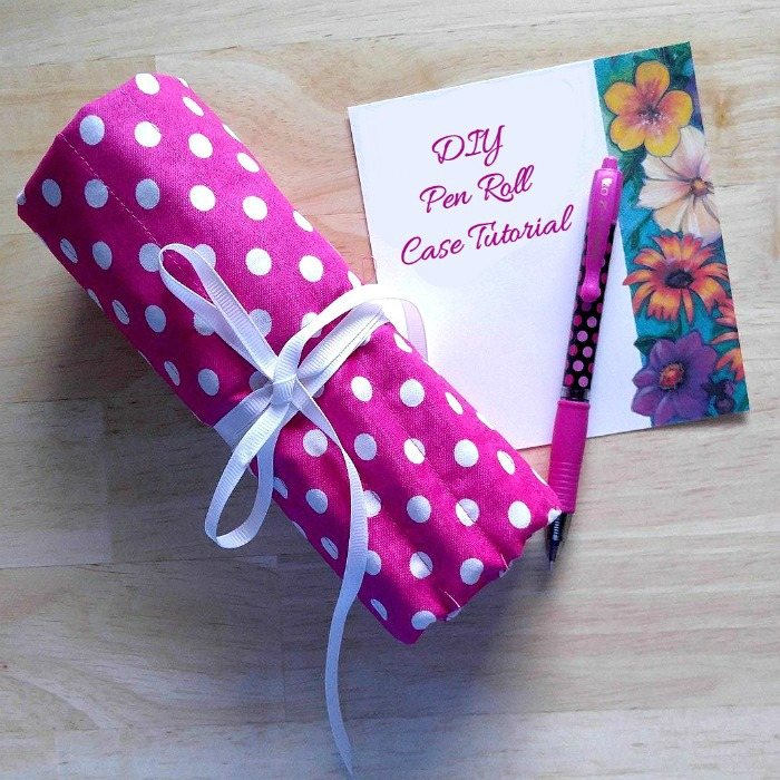Rolled pink polka dot pen holder and words DIY pen roll case tutorial
