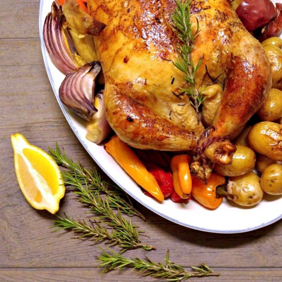 One pot roasted chicken and vegetables