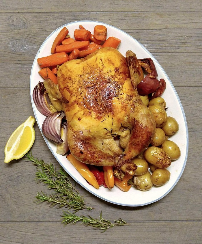 Whole chicken pot roast