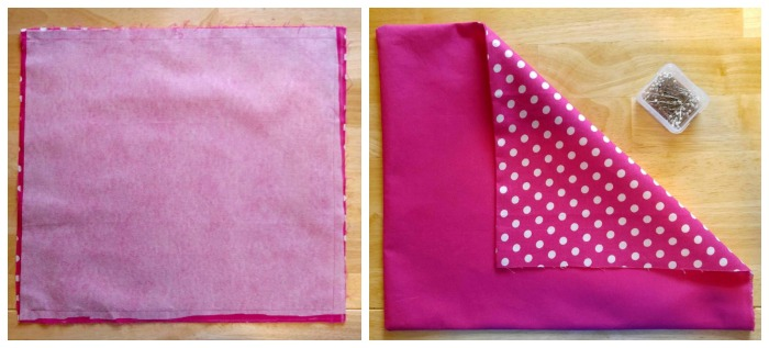 Sewn pink fabric with fusing and polka dot backing.
