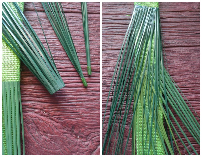 Unfurled onion grass on a wood board.