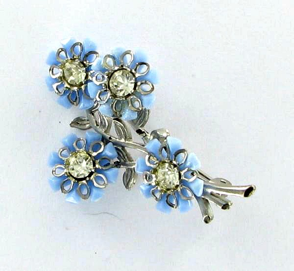 Blue luciite flower pin with rhinestones