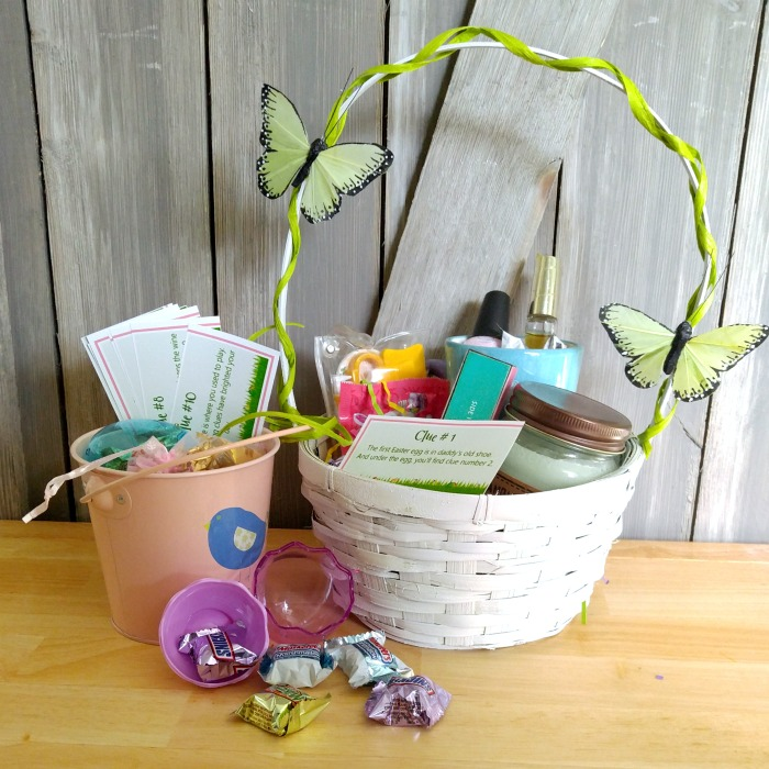 Easter Egg Hunt with Clues, candy, toiletries and a candle.