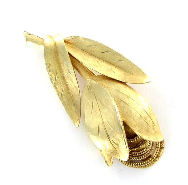 Kramer brushed gold tone pin with mesh inserts