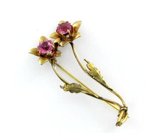 Lewis Stern gold filled pink rhinestone pin