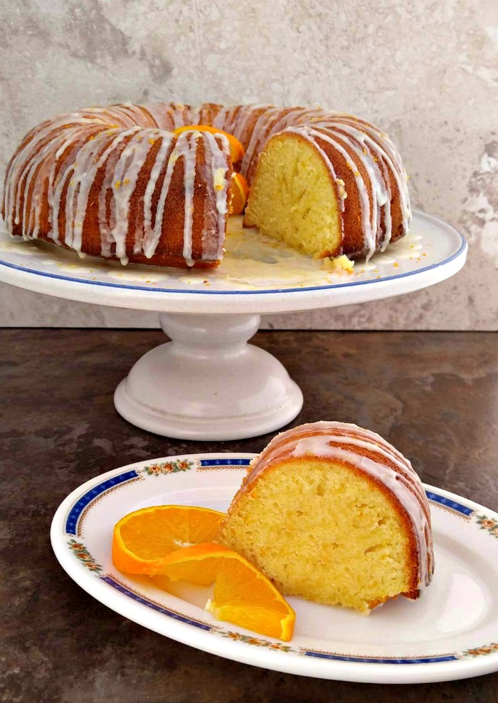 Slice of orange bundt cake
