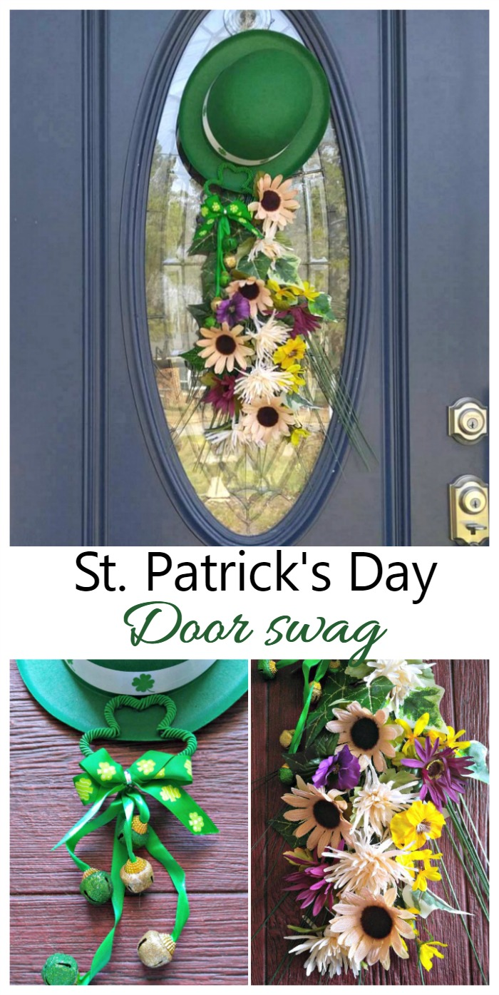 This St. Patrick's Day Door Swag in text on a collage showing a door swag with leprechaun hat and flowers.