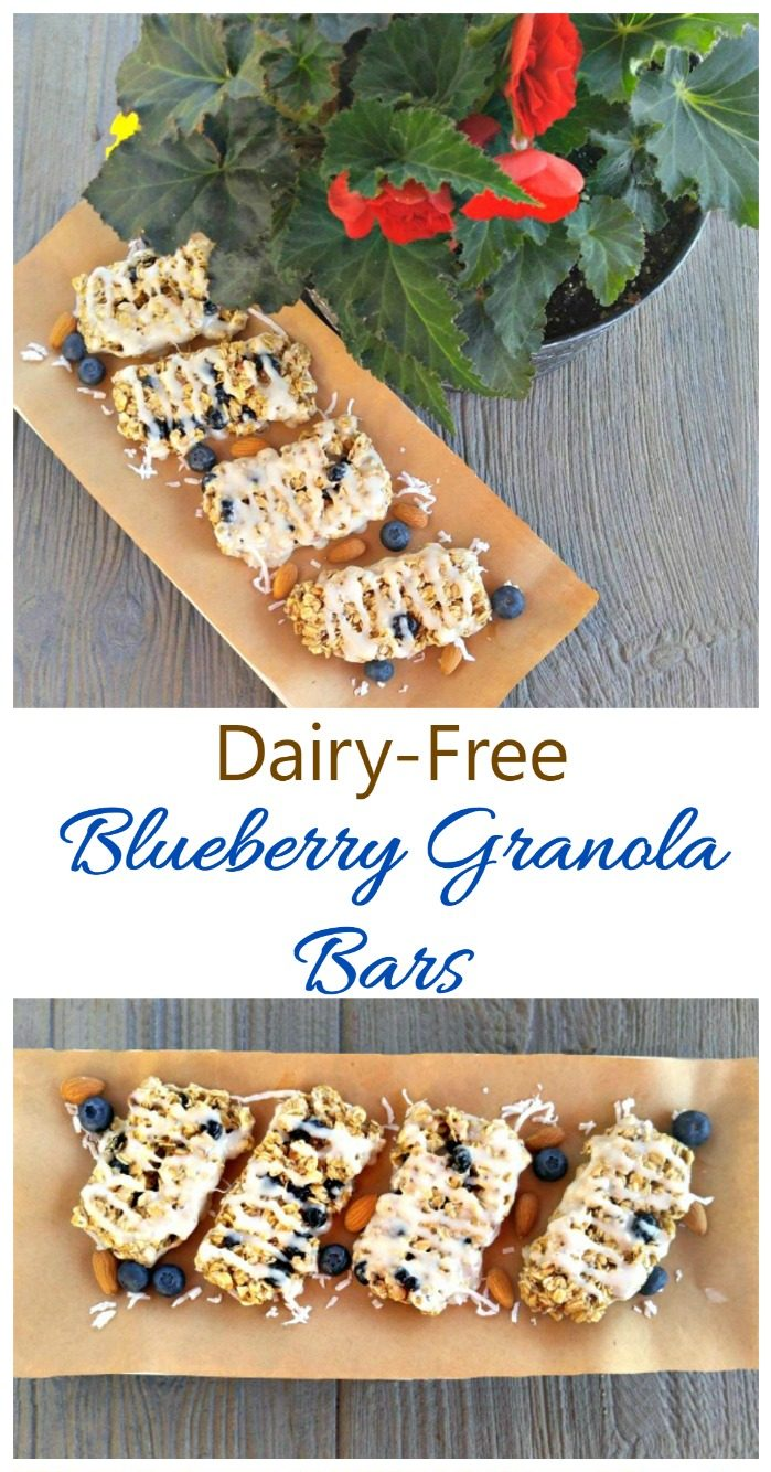 Granola bars on a wooden board with plant and words reading Dairy free Blueberry Granola Bars.