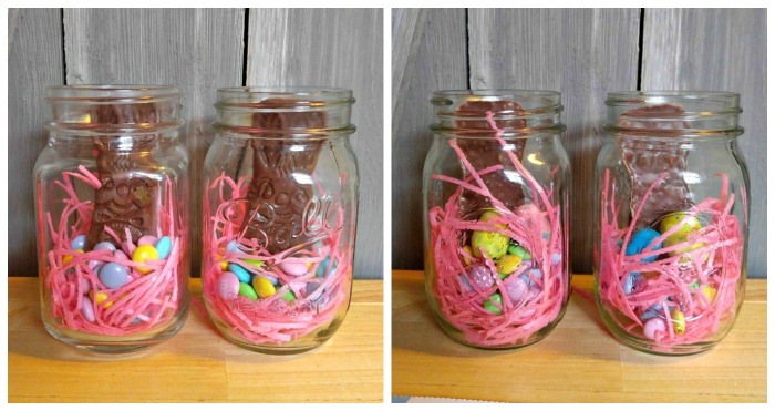 Add Bunnies to jars and also two Robin's eggs to back.