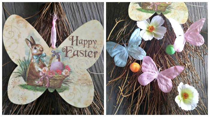 attach the Easter Bunny sign and arrange the other decorations and hot glue to the grapevines