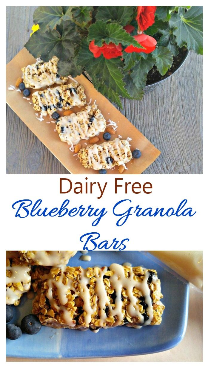 Granola bars with icing and plant and words reading dairy free Blueberry Granola Bars.