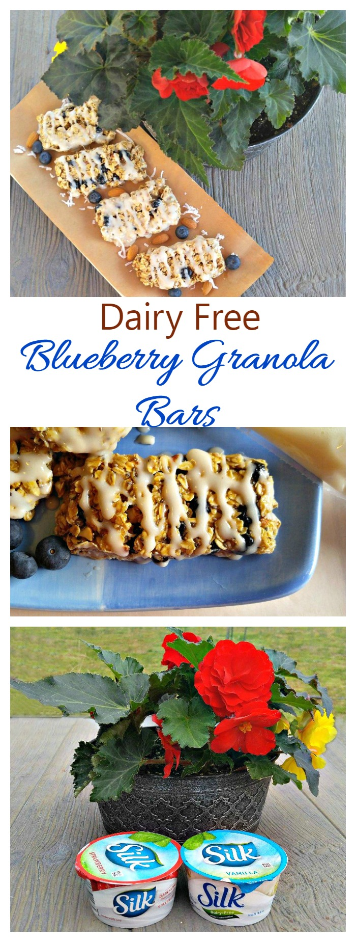 These Blueberry Granola Bars are dairy free and chock full of tasty ingredients. They make a great breakfast on the go! #DairyFreeGoodness #ad
