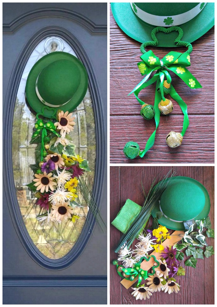 Door Swag for St. Patrick's Day with leprechaun hat, bells and flowers on a blue door.