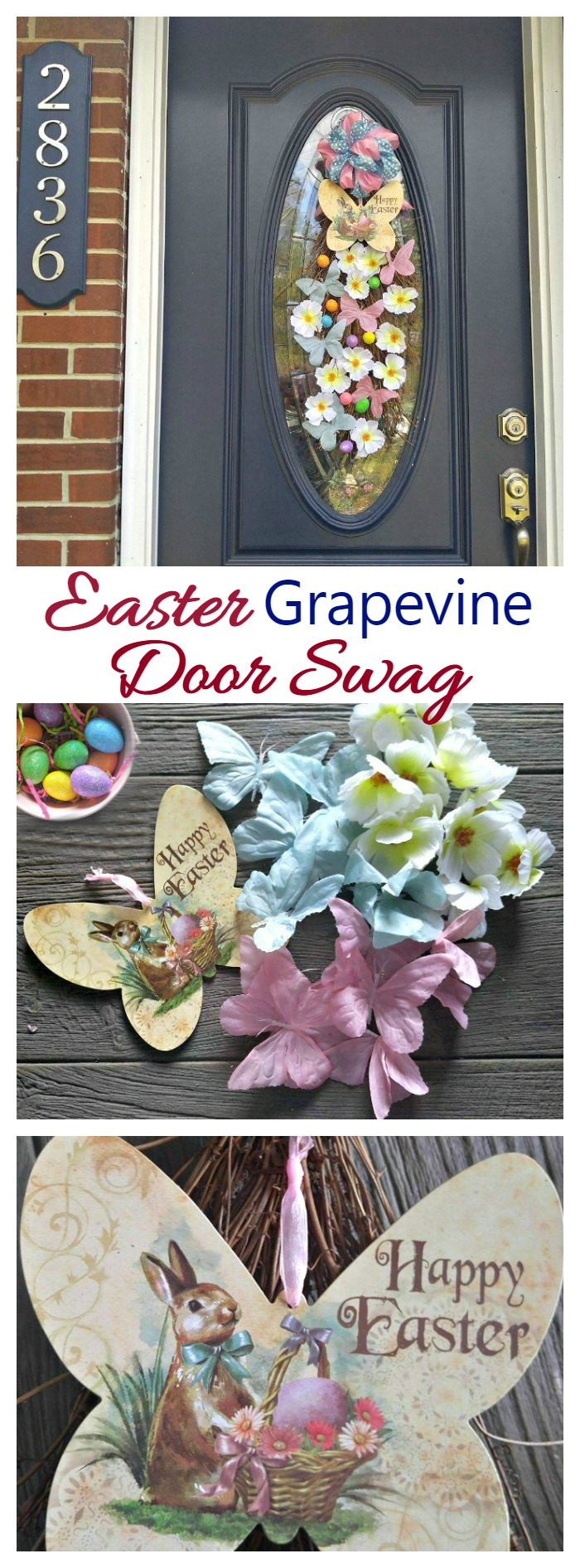 This Easter Grapevine Door Swag is easy to make and welcomes guests with a burst of spring in pretty pastel shades of bunnies, eggs, flowers and butterflies.