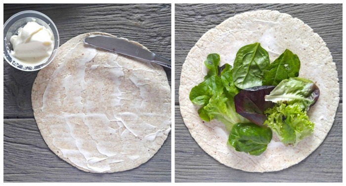 Spread the tortilla with mayo and add lettuce leaves