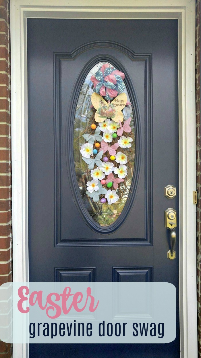 Easter Door swag made from a grapevine and pastel decorations