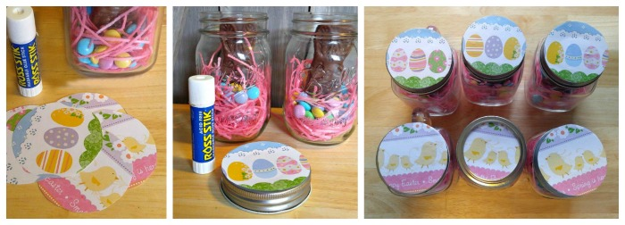 Glue the scrapbook paper to the top of the jar lids