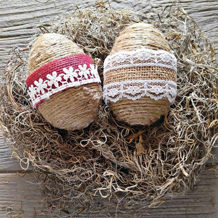 rope wrapped eggs with burlap ribbon
