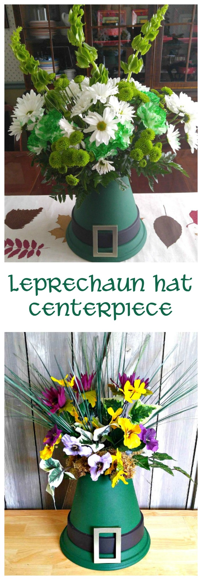 This Leprechaun Hat Centerpiece is easy to make and is the prefect table decoration to welcome both spring and St. Patrick's Day. It can be made with both silk flowers and fresh flowers, too!