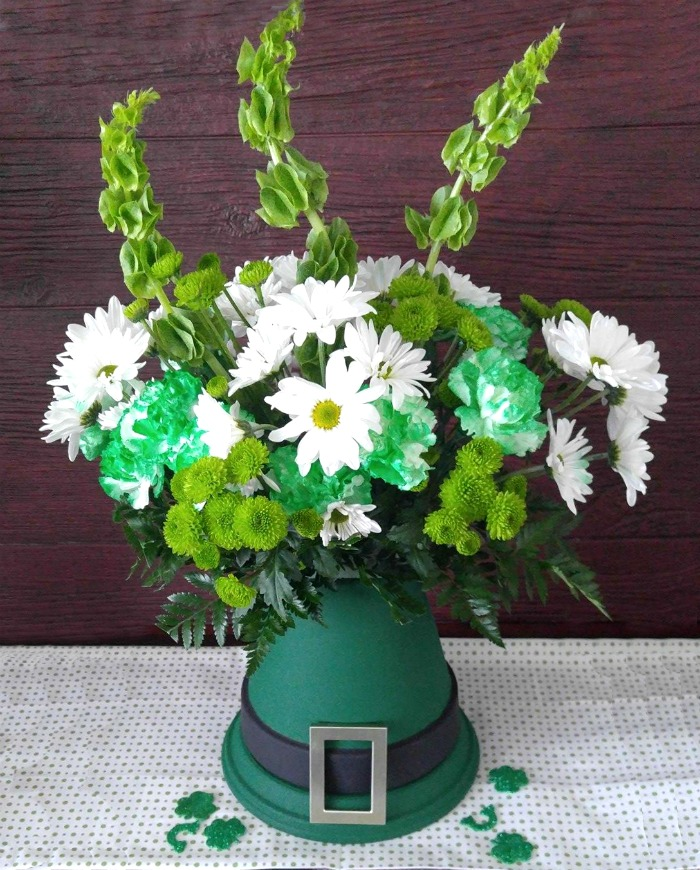 Leprechaun hat centerpiece with fresh flowers