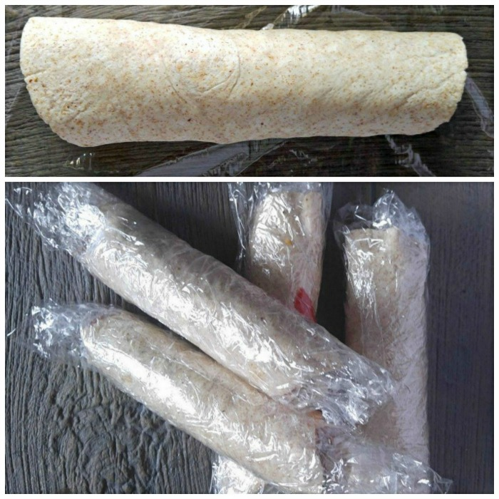 Roll up the tortilla wrap tightly