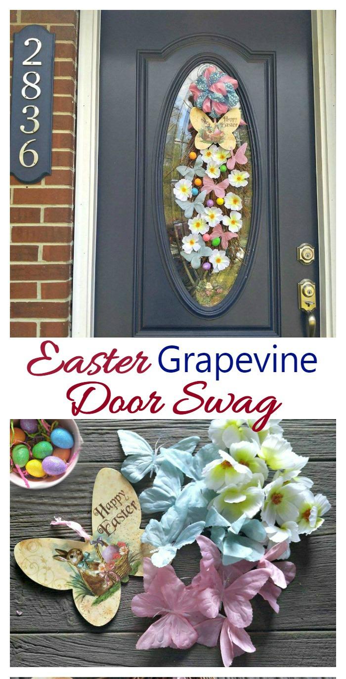 Easter grapevine door swag