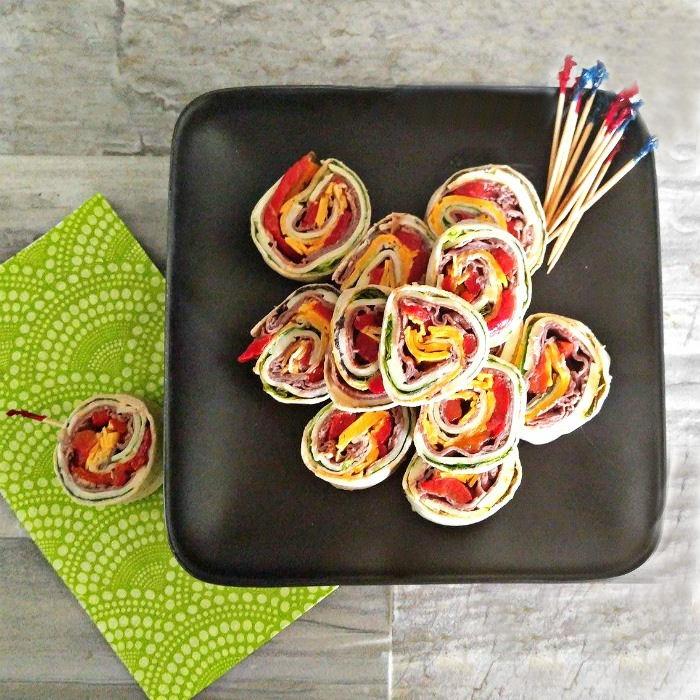Roast beef wrap pinwheels