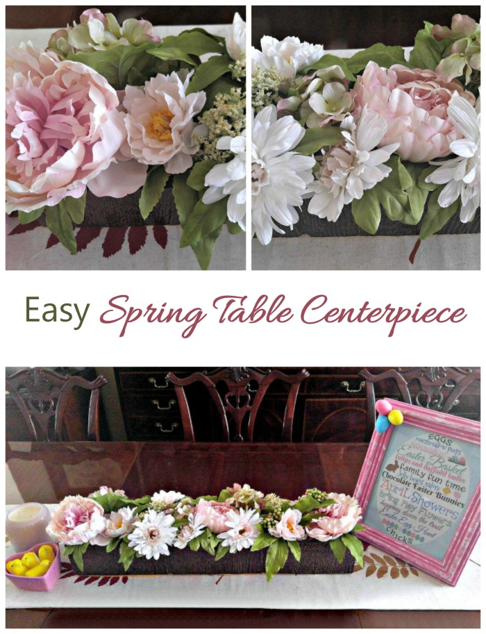 This easy spring table centerpiece comes together in just a few minutes and welcomes spring on your dining room table,