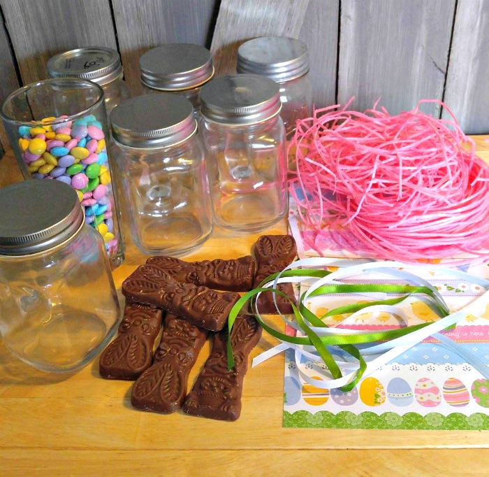 Supplies for the Mason Jar Easter Bunny Treats