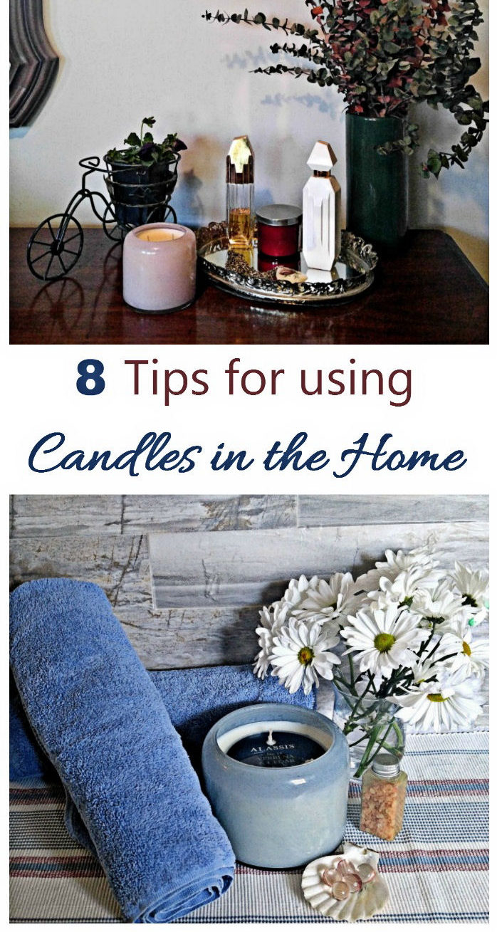 Towels, flowers and candles on display with words reading 8 Tips for using candles in the home.