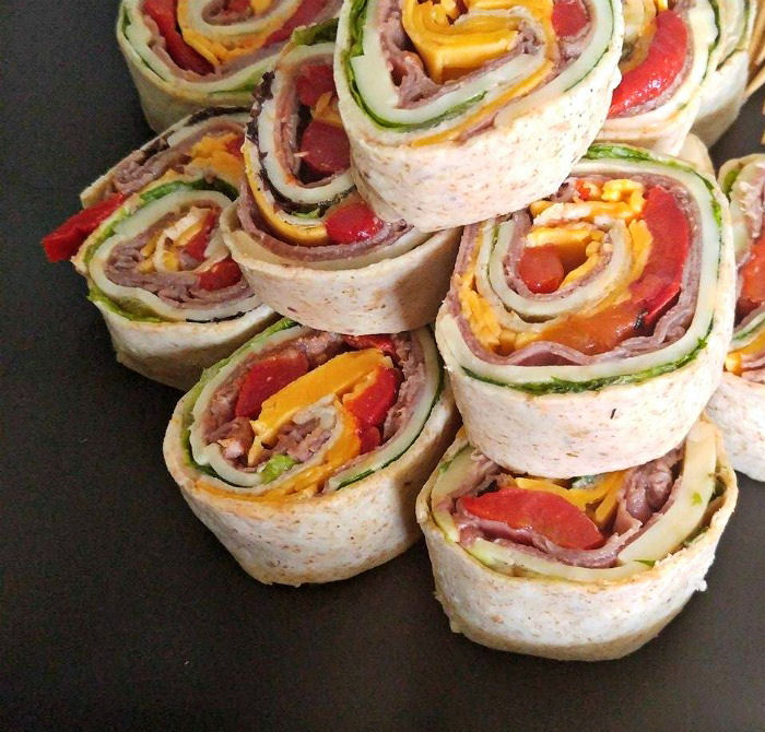 Close up of the Roast beef wrap pinwheels