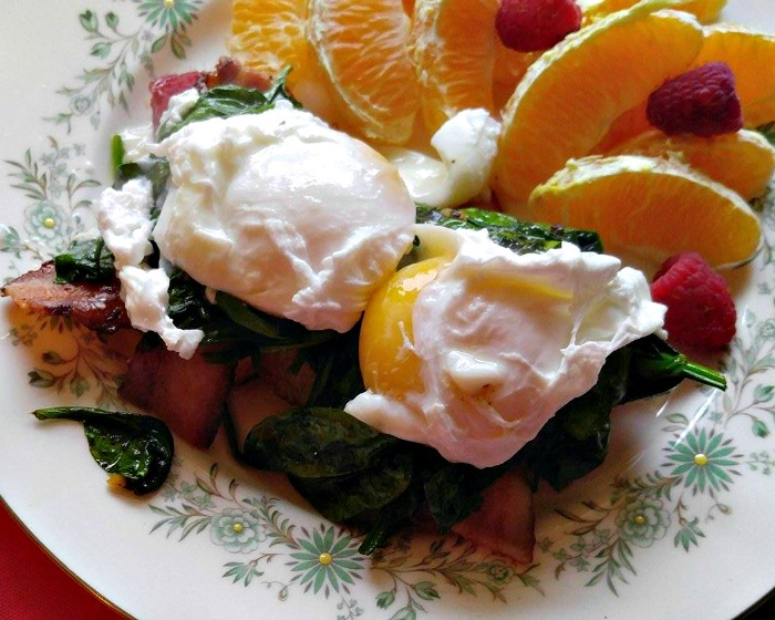 Add the poached egg to the stacks